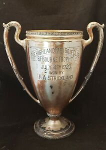 Large Antique ART DECO 1920 Highland Park Golf Trophy Silver Plate by Wilcox