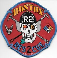 "Boston  Rescue - 2 / HAZ-MAT  ""Red""  (4.5"" x 4.5"" size) fire patch"