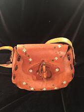 Real Vintage Leather Hand Tooled Handmade Boho Hippy Handbag Shoulder Bag Purse