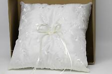 Embroidered & Pearl Wedding Ring Pillow, Off White/Ivory. With Ivory bow & heart