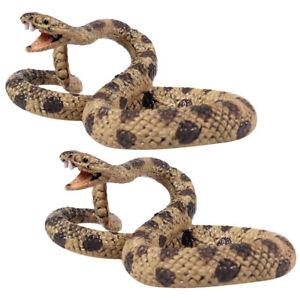 2pc Realistic Plastic Snakes Trick Toy Simulation Snakes Fake Snakes Rattlesnake