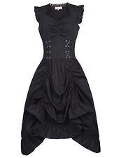 Womens Sleeveless V-Neck Vintage 1920s Steampunk Dress Gothic Victorian Dresses