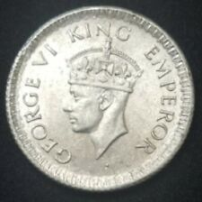 1943 British India George VI Silver 1/4 Rupee KM# 546 Reeded Edge HIGH GRADE BU