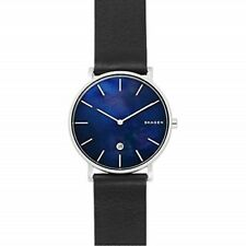 Skagen Gents Hagen Black Leather Strap Blue Dial SKW6471 Mens Watch
