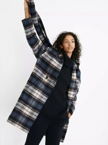 NWT Madewell Plaid Scarf Coat Sz XS Navy Pink Plaid $348 Topcoat Removable Scarf