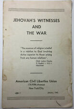 JEHOVAH'S WITNESSES AND THE WAR 1943 KNORR KINGDOM HALL ORIGINAL