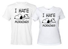 I Hate Mornings Maglietta Bianca Snoopy Divertente Uomo Donna Odio La Mattina