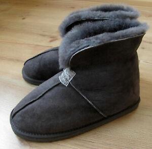 Mens GENUINE SHEEPSKIN Slipper Boots REAL FUR Roll up/Down Cuff Grey