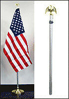 8 Ft Aluminum Telescoping Indoor Flag Pole Gold Eagle Top
