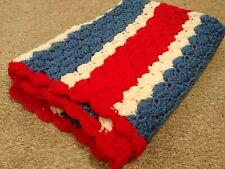 """Handmade Crochet Afghan Throw Blanket Stripes 31"""" x 47"""" Red White Blue"""
