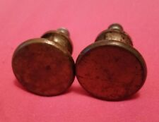 PAIR  MATCHING VINTAGE ANTIQUE  HEAVY CAST BRASS DRAWER PULLS KNOBS  (1011A)