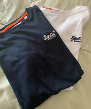2 X Superdry Tshirts Mens Small White And Navy Blue Authentic