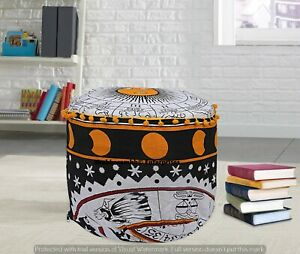 100% Cotton Tapestry Round Seat Poufs Cover Boho Bedroom Footstools Cushion Case