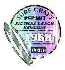 Aged Retro Fistral Beach Newquay Surf Craft PERMIT 1968 Car Camper van sticker