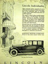 LINCOLN LIMOUSINE Automobile Advertising 1923 Matted