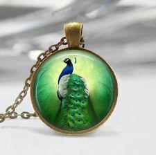 Vintage peacock Photo Cabochon Glass Bronze Chain Pendant Necklace