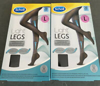 Light Legs Scholl Ladies Support Tights 20 Denier Black Size Large 2 Packs New