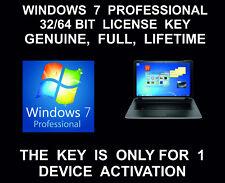 Windows 7 Professional 32 bit, 64 Bit: Full Version: License Key, Genuine, Life
