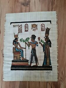 Egyptian hand painted Papyrus Picture purchased in Egypt 1990's signed