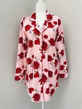 BedHead Cotton Pajama Nightshirt Sleep Shirt XS Pink Red Floral Bold Soft NWT
