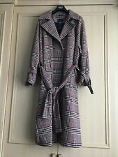 M&S Long Belted COAT with WOOL Size 22~Wine & Beige Mix CHECK (rrp £99)