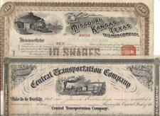 2 Early Railroad Stock Certificates~Illustrated~MO,KS & TX RR~Central Transport