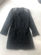 Zara Boucle Tweed Long Blazer Jacket Xs Black Jewelled