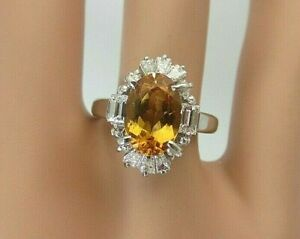 Vintage Platinum 2.50 carat Imperial Precious Topaz and Diamond Ring 3.10 CT TW
