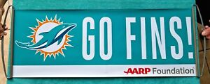 """TWO (2) - MIAMI DOLPHINS - PULL-OUT """"GO FINS"""" SIGN BANNER PENNANTS NEW! U GET 2!"""