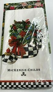 NEW Mackenzie Childs Christmas Tea Kettle Dish Towel Courtly Check