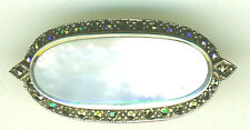 "925 Sterling Silver White Mother of Pearl & Marcasite Oval Brooch W 1.3/8"" 37mm"