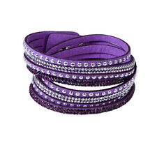 Rhinestone Leather Wrap Punk Bracelet Full Crystal Multilayer Bracelets Bangle