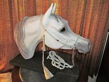 HANDMADE MACRAME` ARABIAN HORSE SHOW HALTER & LEAD, BABY BLUE & EGGSHELL w/ GOLD