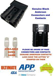 1 X GENUINE BLACK Anderson 50 AMP Plug & 2 X 6AWG Auto Contacts, Caravan, 4WD