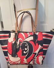 TRINA TURK TOTE SHOPPER LARGE RED WHITE BLUE FLORAL & STRIPED PRINT NEW $178
