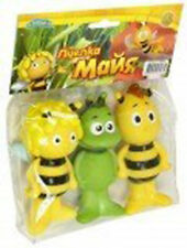 3psc bee Maya and Willie  bath toys Russian cartoon rubber 9 cm yellow