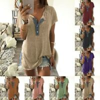 Womens Loose Casual Short Sleeve Blouse Ladies Button Summer Plus T Shirt Tops