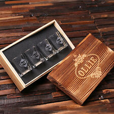 Personalized 4 Engraved Shot Glasses w/Keepsake Box, Groomsmen, Birthday, Dad