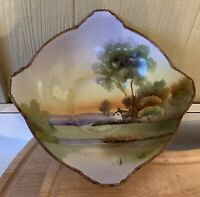 "Antique Nippon Hand Painted 8"" x 2.5"" Bowl Scenic Landscape House Scene"