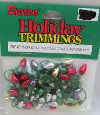 Darice Christmas 6 Feet 8mm Light Bulb Garland - Red, Silver, Gold & Green