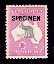 Australia 1917 Kangaroo 10/- 3rd Watermark Specimen Type B Mh - Listed Variety