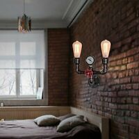 Transitional Wall Sconce Lamp Water Pipe Bedroom Light Metal Fixture Industrial