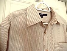 Sean John Button Down Shirt-size XXL white & tan  Contrast stripes!
