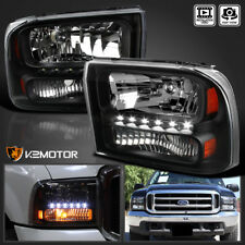1999-2004 Ford F250 F350 Superduty Excursion 1PC Black LED Headlights