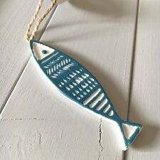 Ceramic fish hanger.  Nautical coastal chic. Shoeless joe
