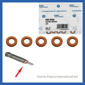FOR KIA CEE'D 1.4 CRDI 90 GENUINE DELPHI INJECTOR WASHER SEAL 9001-850A X 5