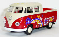 VW Bulli T1 Doppelkabine Pritsche rot Hippie-Style Modellauto ca. 11,5 cm WELLY