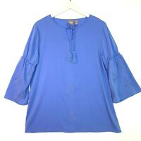 Chicos embroidered eyelet 3/4 sleeve tunic style top blue size 1 US small 8