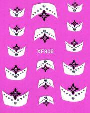 J221 NAGELSTICKER FRENCH STYLE Muster schwarz weiß Nagel Nail Art Aufkleber