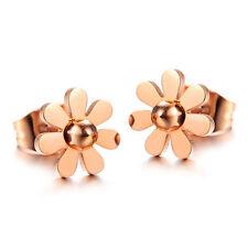 18k Rose Gold Daisy Flower Stainless Steel Stud Earrings gift box party P28